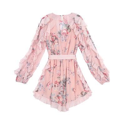 dot frill detail flower dress pink
